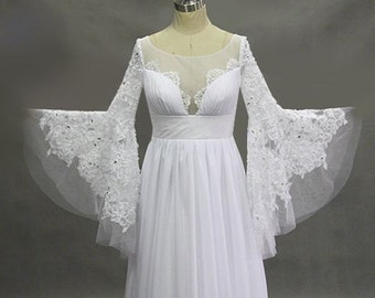 Custom made Deep V Maxi Lace Fairy Wedding Bridal Dress with Long Flaired Sleeves.