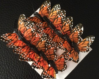 12 Feather Butterflies Monarch_1 inch Artificial Butterflies