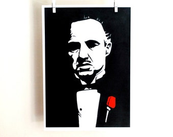 The Godfather/ Marlon Brando/ print/ portrait/ stencil/ freehand/ drawing/ movie/ home decor/ art wall/ 11,5x16,5inches