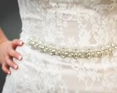 Wedding Crystal Beaded Satin Sash, Bridal Belt, Bridal Headpiece, Austrian Crystals, Swarovski, Rhinestone, Jewel Sash - Bella Belt