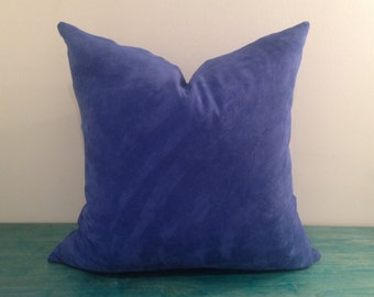 """Recycled Leather Pillow Cover - 18"""" x 18"""" Genuine Suede Leather Pillow Cover, in Vibrant Blue"""