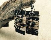 Deco Dangles - Ribbon & Bead Wrapped Earrings - Tribal