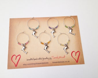 Dolphin wine charms. Wine charms