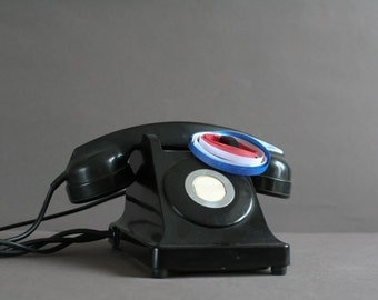 French vintage telephone-  black bakelite table phone -  mother-in-law ear mounting