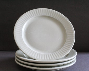 four french white porcelaine plates- Porcelain from Limoges- typical french decor