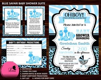 Blue Safari Baby Shower Invitation, Diaper Raffle Ticket - Digital File