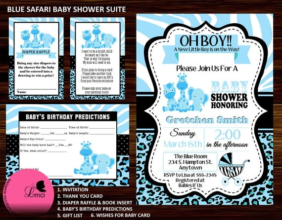blue safari baby shower invitation diaper raffle ticket digital