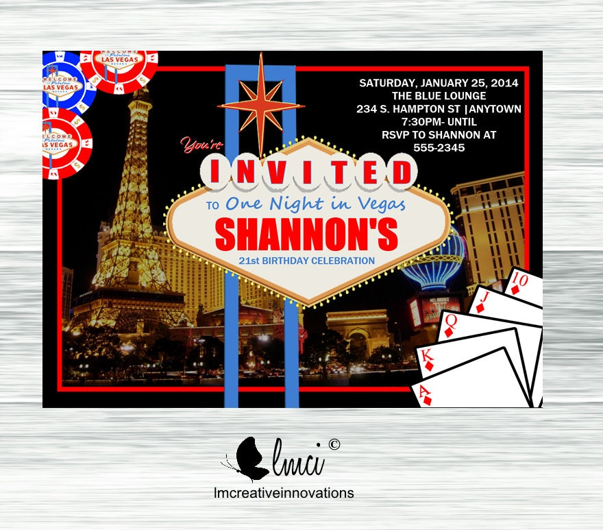 Casino Night Invitation Las Vegas Birthday Invitation