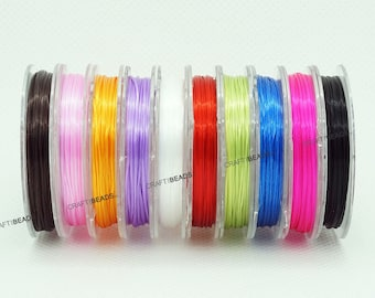 0.8mm Strong Elastic Floss Flat Stretch Beading Cord Thread Assorted 10 Spools