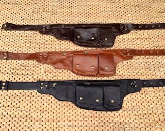 Leather Utility  Belt / Hip Bag / Fanny Pack - IPhone Wallet, Passport Holder, Pocket Belt  - The Explorer