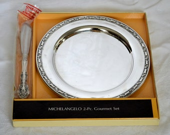 Vintage Sterling Silver Oneida Michelangelo 2Pc Gourmet Set Master Butter Knife & Silverplated Dish