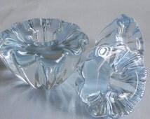 3 Orrefors crystal, light blue candle holders, called Stella, signed. Swedish modern glass.