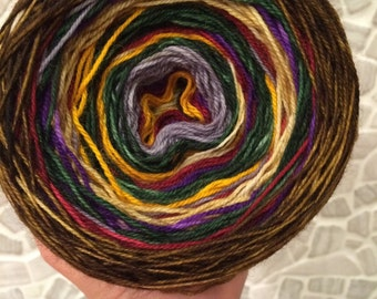Self Striping Shawl Yarn in 'Dr Who' a muted masculine colourway, also comes with shawl pattern.