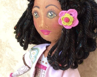 SALE!!  Ethnic cloth Art Doll hand made hand drawn OoAK face girls 6+ gift