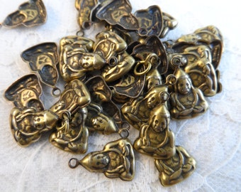 """Vintage gold plate stamped brass budda charms,5/8th"""",35pcs-CHM225"""