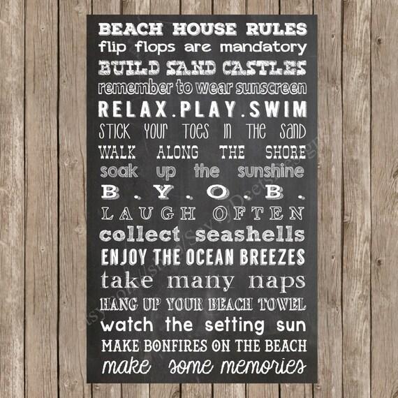 Beach rules wall decor : Chalkboard beach house rules sign