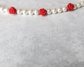 Swarovski Simply Elegant White Pearl and Red Rose Bracelet - Baby/Infant/Toddler/Child/Adult