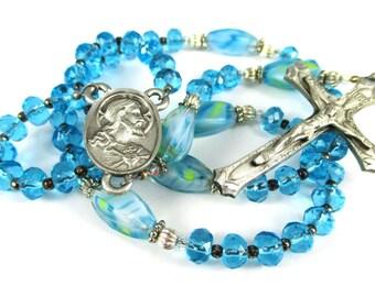 Handmade Rosary, Aqua Glass Beads and Pewter Crucifix, Millefiori Glass Beads