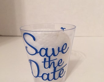 Save the Date shot glass (plastic)