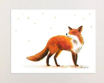 Fox Woodland Watercolor Print from Original Painting, Nursery Decor, Nursery Art, Illustration, Playroom Art