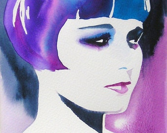Louise Brooks Art Print of Original Painting Purple Blue 1920s Flapper Fashion Bobbed Hair