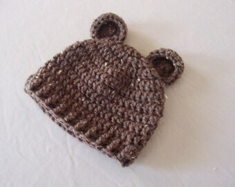 Baby Teddy Bear Beanie Hat - 0 to 3 Months, 3 to 6 Months, 6 to 12 Months - Barley