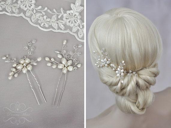 Braut haarschmuck mit perlen  Braut Haarschmuck Haarnadeln mit Perlen 2 Stück echte Perlen