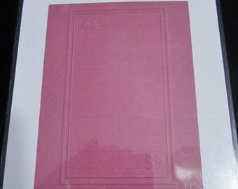 A2 Journaling Block QuicKutz Embossing Folder EF-A2-032