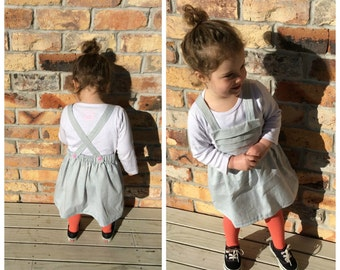 Girls Pinafore Dress, 12m to 5T  (made to order)