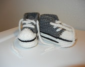 Crochet Baby High Top Converse Shoes (size 3-6 months)