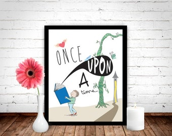 Once Upon A Time Poster, Fairytale Quote, Fairytale Print, Fairytale Art, Childrens Prints, Childrens Art