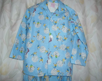 Size 7 Boys Pajamas with Base Ball Players on blue
