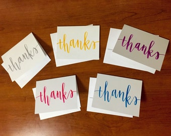 Assorted handlettered calligraphy 'Thanks' cards - Set of 5