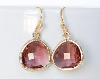 Plum earrings Burgundy Earrings Eggplant Earrings Plum Bridesmaid Drop Earring Purple Earring Gold Plum Earring Eggplant Bridesmaids Jewelry