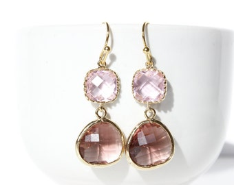 Pink and Plum Earrings Gold Burgundy Earrings Pink Earrings Plum bridesmaids Eggplant jewelry Eggplant Earring Pink Plum ColorBlock Earring