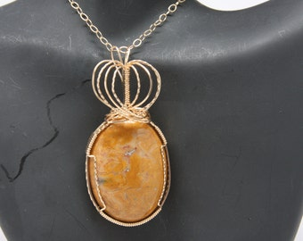Gold-Filled Wire Wrapped Orange Stone Cabochon Pendant with Heart or Crown SCS-079