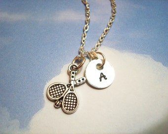 TENNIS RACQUET NECKLACE  - personalized with initial charm - choice of chains