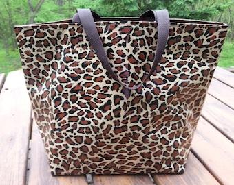 Jaguar Oil Cloth Tote Bag, beach-knitting-gym-work-camping-dorm shower-travel bag