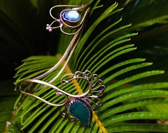 Queen of the sea upper arm bracelet*seaglass and labradorite