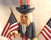 Reserved for santalover: Handmade Uncle Sam Wood Carving Art Sculpture Figurine