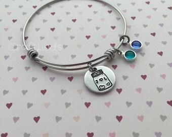Mason jar hand stamped initial and birthstone, birth month exapnable bangle, bracelet