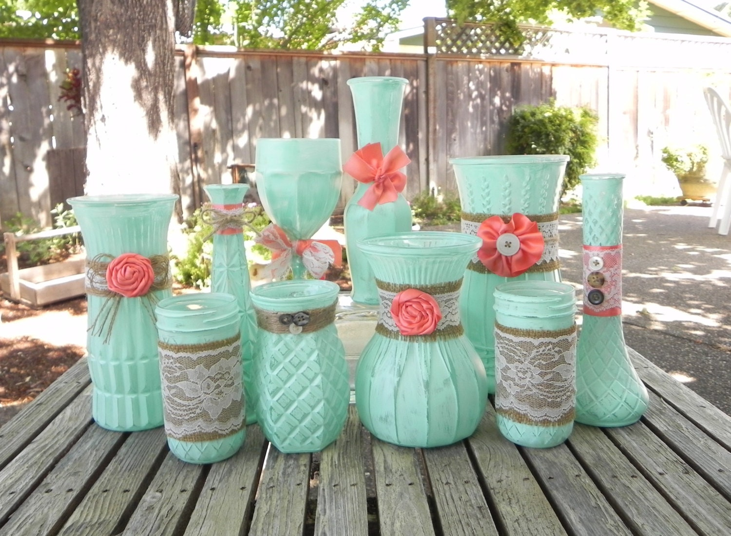 Mint And Coral Shabby Chic Vase Set Of 10 Rustic By