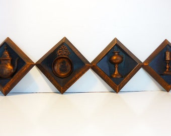 Vintage 4 Pc Grouping Dart Industries Coppercraft Guild Wall Hangings Matching Mid century Wall Decor - Dark Color 4 Pc Grouping Dated 1964