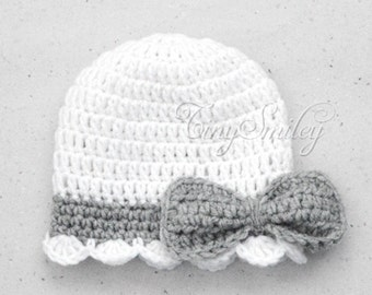 White Crochet Baby Hat, Bow Baby Girl Hat, White Bow Baby Beanie, Crochet Baby Hat, Bow Newborn Hat, Gray Baby Girl Outfit, Hats for Girls