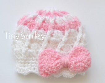 Bow Crochet Baby Girl Hat, Pink and White Bow Baby Hat, Going Home Outfit, Crochet Newborn Girl Hat, Cunky Baby Girl Hat, Baby Girl Hats