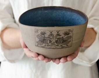 Ceramic blue bowl, ceramic salad bowl, ceramic bowl, pottery wedding gift, housewarming gift, rustic pottery, medium size, made for order