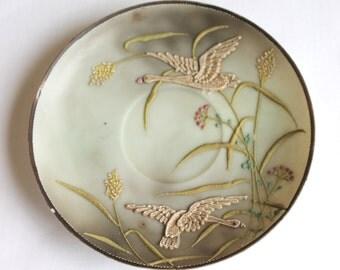 Vintage Ceramic Saucer Plate Hand Painted with Egrets in Flight, Nagoya SNB Nippon