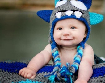 Monster Hat- Crochet hat- Can be customized with colors- NEWBORN photo prop- Baby boy- Toddler boy- Sizes- Preemie-4t