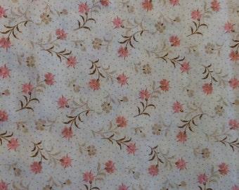 Salmon pink floral cotton