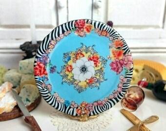 Hot Flowers Dollhouse Miniature Plate